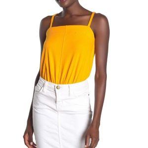 Free People Marissa Ribbed Bodysuit Yellow